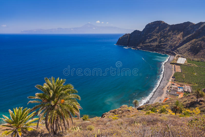 Beautiful beach in La Gomera island - Canary. Spain stock images
