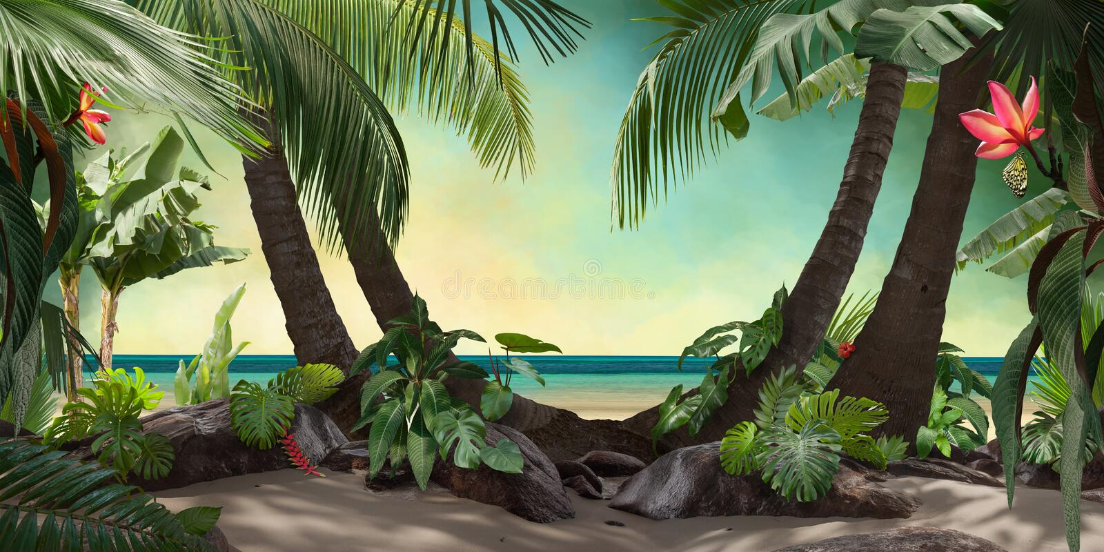 Beautiful beach lagoon view with palm trees and tropical leaves. Can be used as background vector illustration