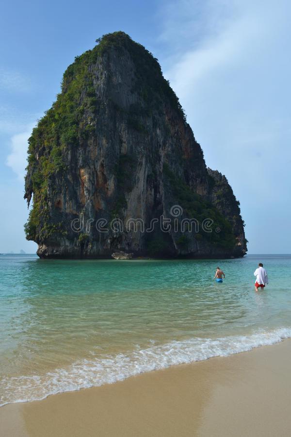 Beautiful beach with mountain in Thailand royalty free stock image