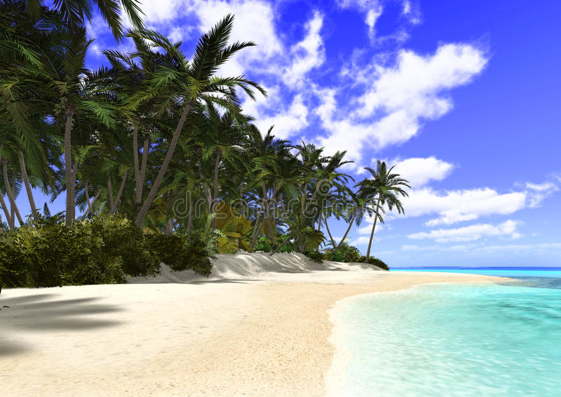 Beautiful Beach with Palm Trees stock illustration