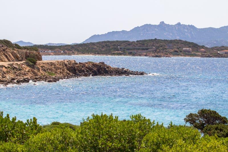 The beautiful beach on Sardinia island, Italy. Spiaggia del Relitto, Caprera Island, La Maddalena Archipelago National Park, Sardinia, Italy stock images