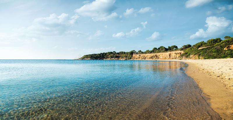 Beautiful beach in skiathos stock image