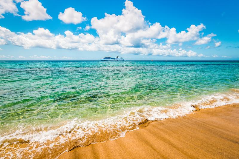 Beautiful beach in St Kitts, Caribbean. royalty free stock images