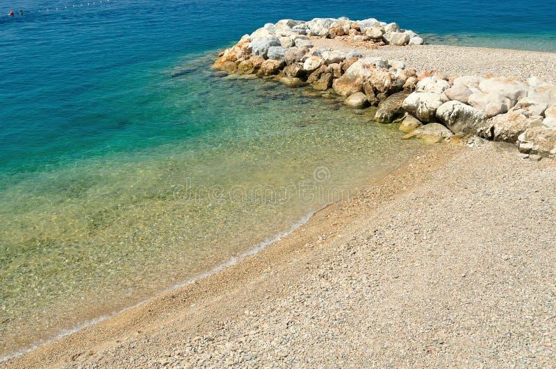 Beautiful beach with stones. Podgora, Croatia stock photos