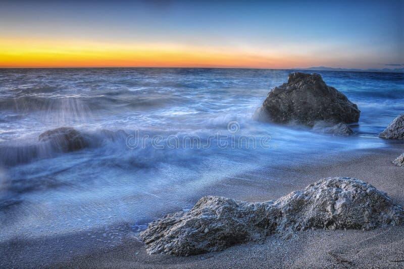 Beautiful beach at sunset in Lefkada,Greece stock photography