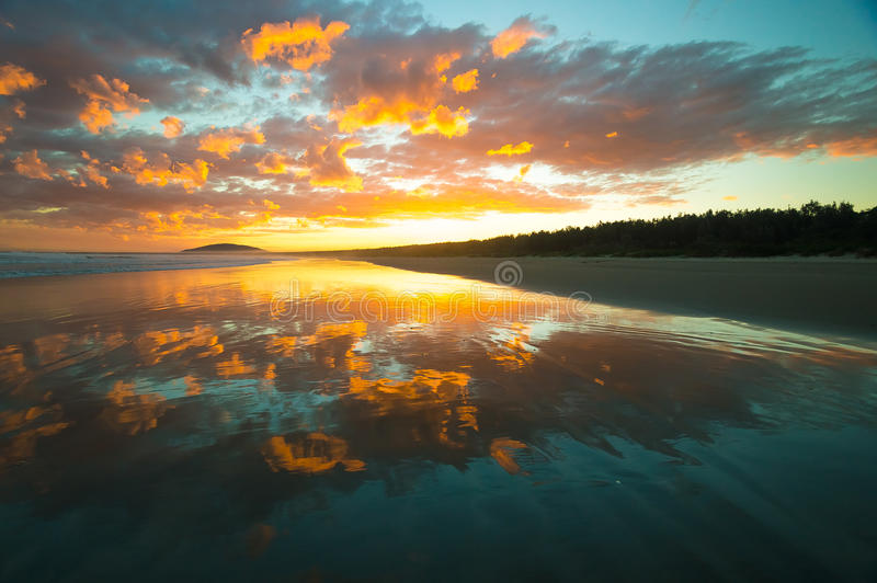 Beautiful Beach with Sunset royalty free stock photos