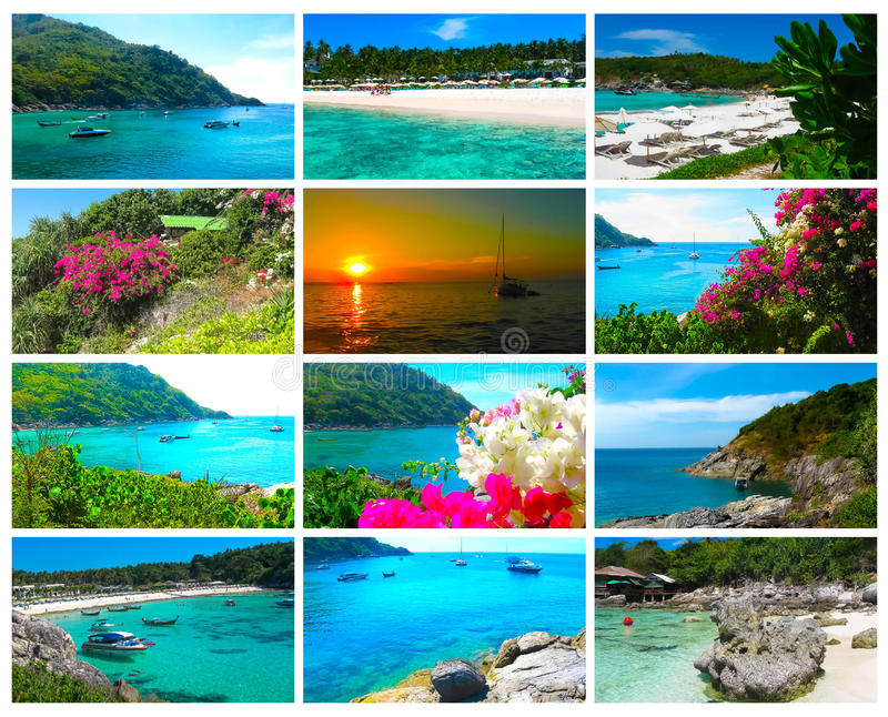 Beautiful beach on a tropical island Koh Racha Yai. Collage. The collage from views of beautiful beach on a tropical island Koh Racha Yai, Thailand royalty free stock images