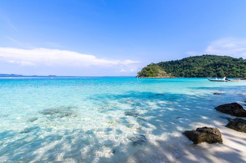 Beautiful beach view Koh Chang island seascape. At Trad province Eastern of Thailand on blue sky background , Sea island of Thailand landscape stock photography