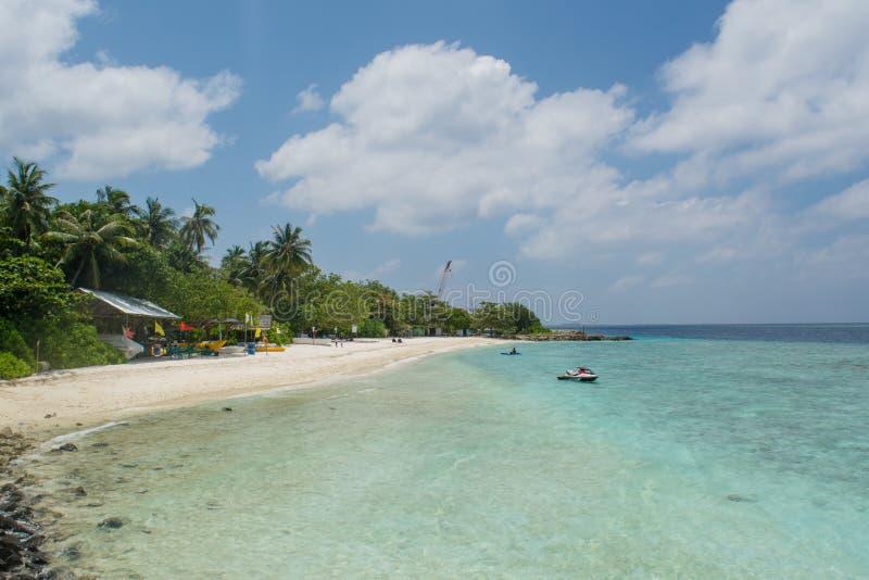 Beautiful beach at the Villingili tropical island in Maldives stock images