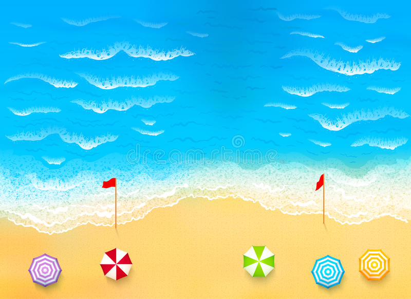 Beautiful beach with waves, rip current. Vector illustration royalty free illustration