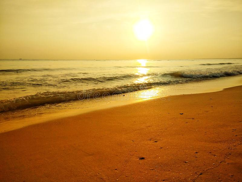 Beautiful beaches and clear skies with morning sunshine stock photos