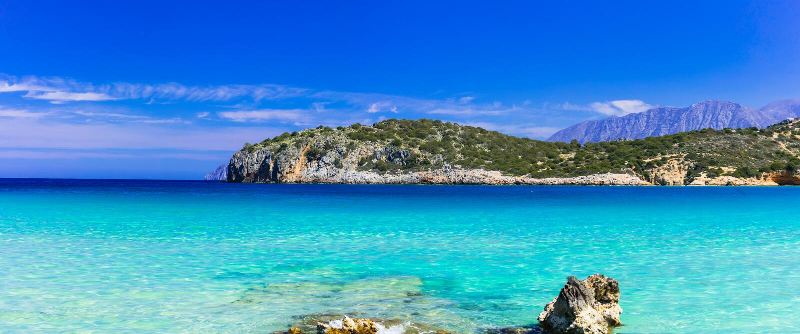 Beautiful beaches of Crete island, Istron bay. Beautiful nature and turquoise beaches of Crete island, Istron bay stock photography
