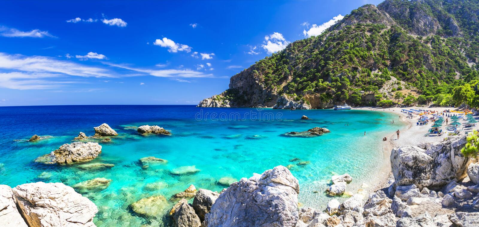Beautiful beaches of Greece - Apella, Karpathos stock photography