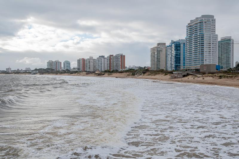 Punta del Este Peninsula beautiful place and beaches in eastern Uruguay royalty free stock image