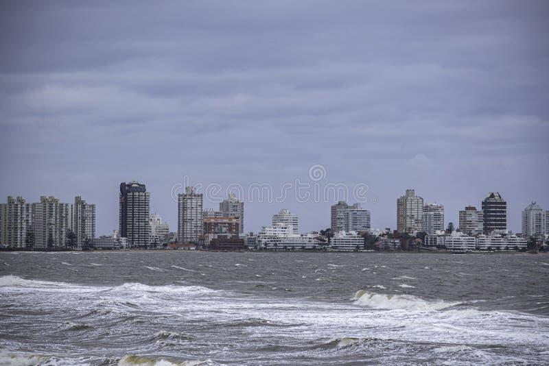 Punta del Este Peninsula beautiful place and beaches in eastern Uruguay stock photo