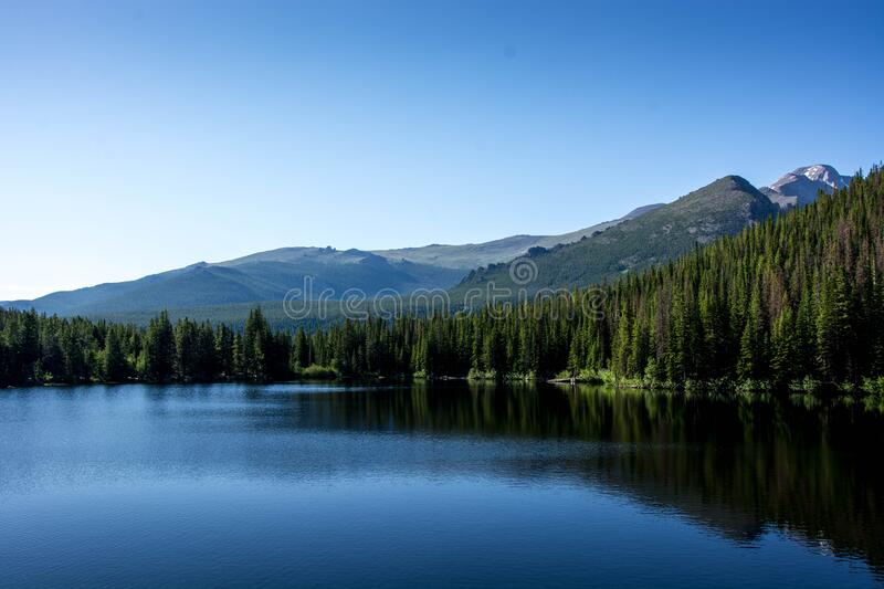 Bear lake in summer  in the rocky mountain national park, colorado united states of america. Beautiful bear lake with blue sky, blue water and green trees in stock photo