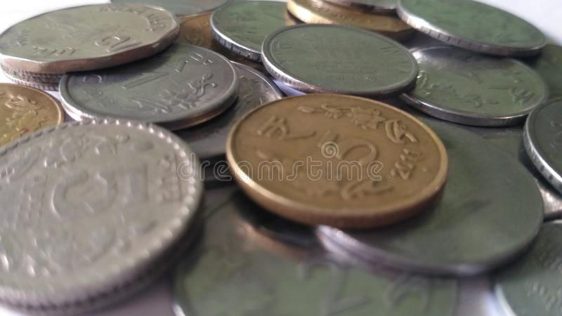 Indian currency coin. Beautiful beauty coin sliver gold stock photo