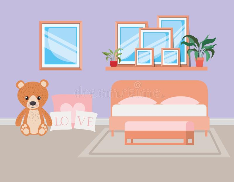 Beautiful bed room house scene. Vector illustration design vector illustration