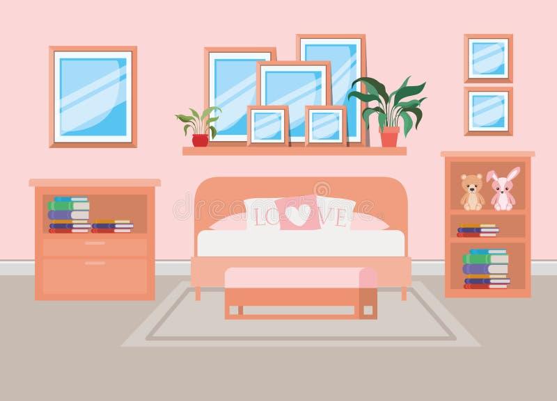 Beautiful bed room house scene. Vector illustration design stock illustration