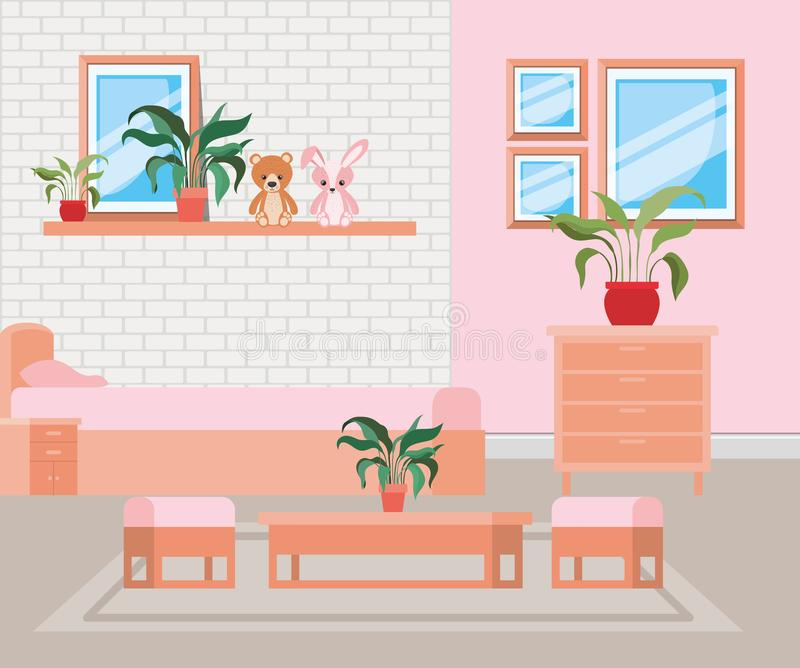 Beautiful bed room house scene. Vector illustration design royalty free illustration