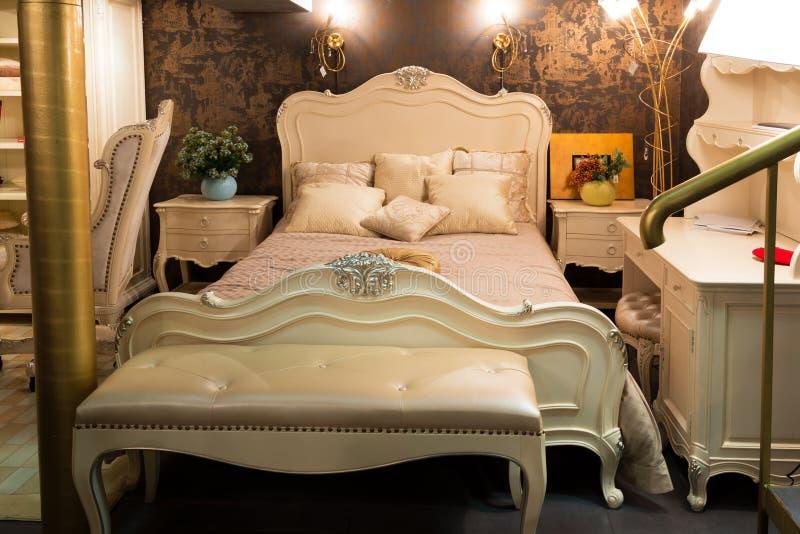 Bedroom in a furniture store. Beautiful bedroom in a furniture store stock images