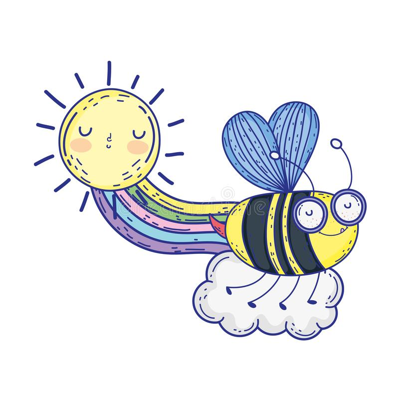 Beautiful bee flying with rainbow and sun stock illustration