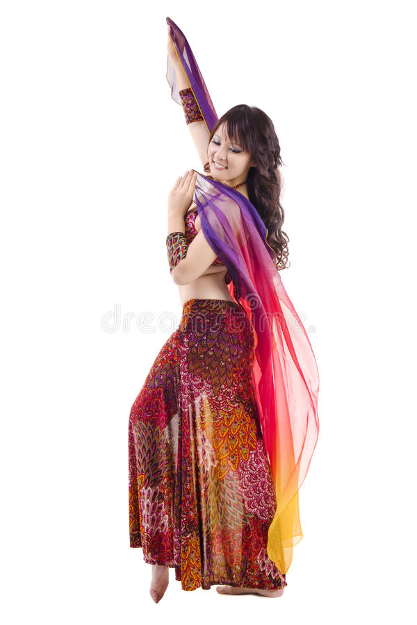 Beautiful Belly dancer. On white background royalty free stock images