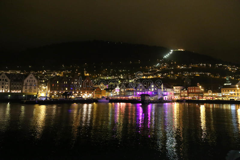 Beautiful Bergen city night scenes. Enjoy a holiday in this beautiful Bergen city in Norway, a lot of beautiful lights mapping in the water The night life is royalty free stock photos