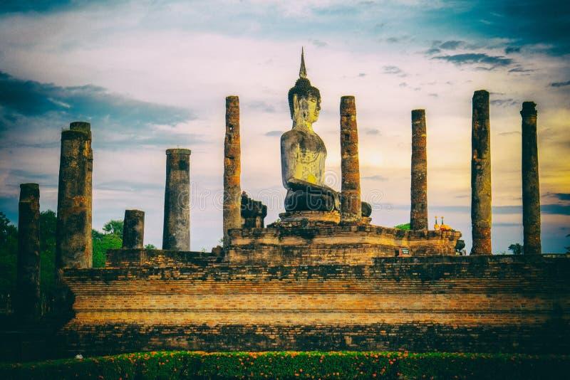 Beautiful big ancient Buddha at Mahathat Temple at Sukhothai Historical P Sukhothai province , Thailand royalty free stock photography