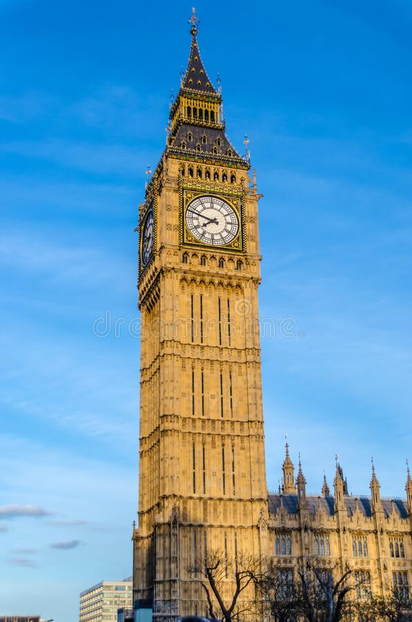 Beautiful Big Ben at night in London United Kingdom UK.  royalty free stock photography