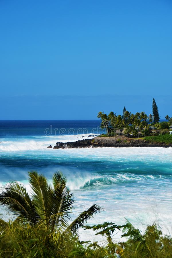 Big Waves at Waimea Bay, Oahu, Hawaii, USA. Beautiful big blue waves, surfing at Waimea Bay in Oahu, Hawaii, USA royalty free stock image