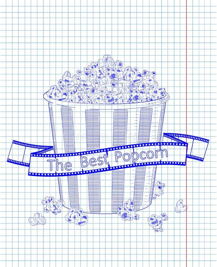 Beautiful big striped carton box full of delicious & fresh popcorn.Reel of film with inscription. Beautiful big striped carton box full of delicious & fresh stock illustration