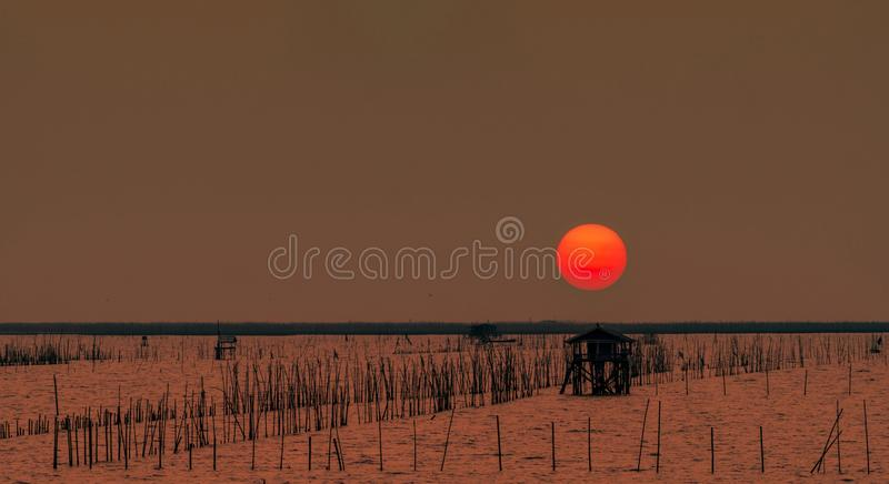 Beautiful big sun in summer. Sunset sky over the sea, fisherman`s hut and mangrove forest in the evening. Bamboo pole at coast. Bamboo embroidery to slow down royalty free stock photos