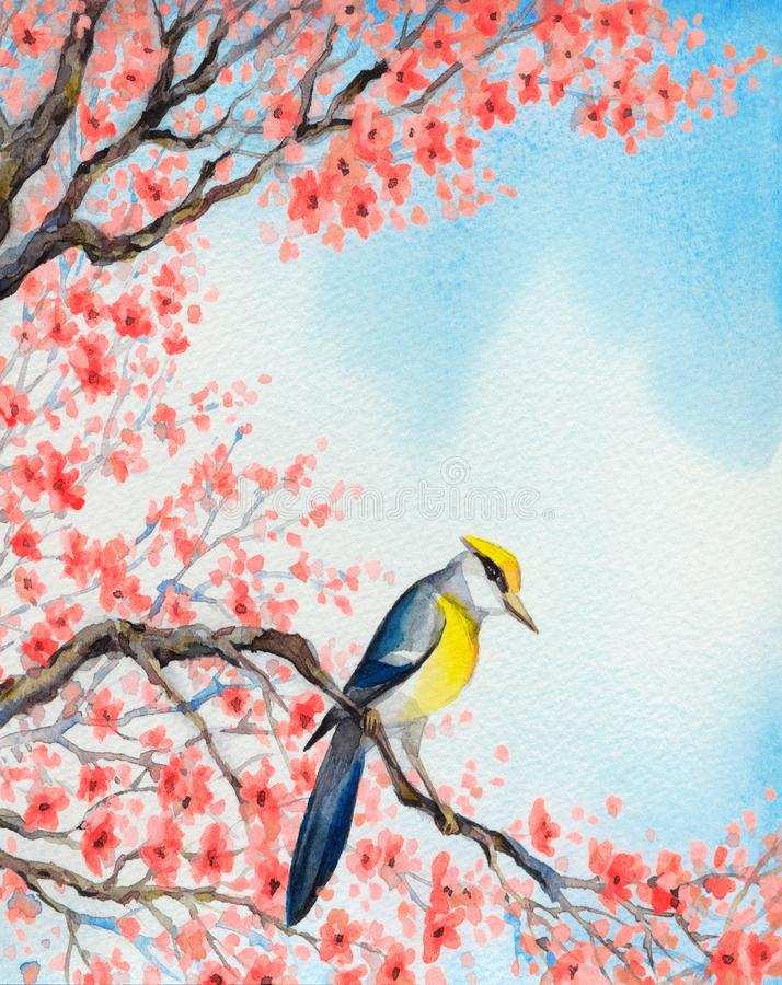 Beautiful bird on flowering branch. Watercolor painting. Bright colorful watercolour on paper backdrop in Japan sketch style with space for text on white sky vector illustration