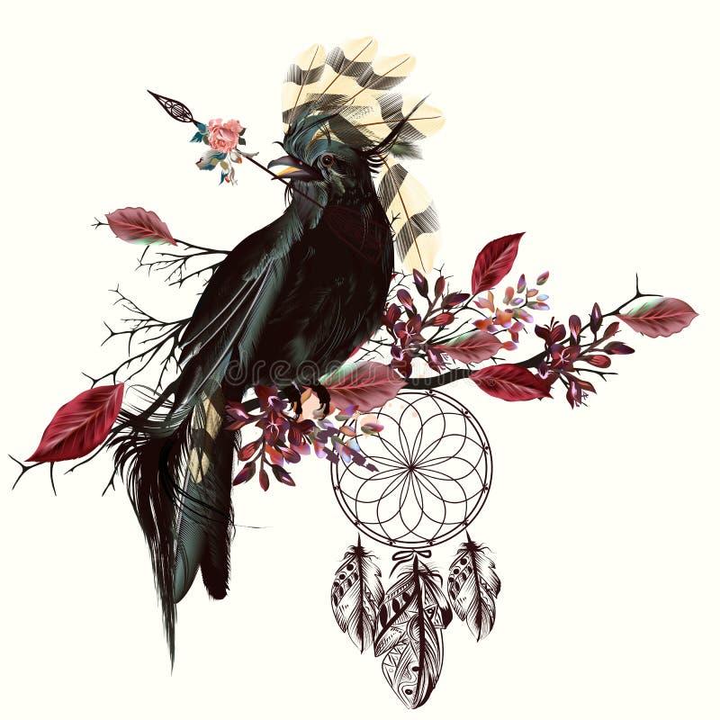 Free Beautiful Bird Holding Arrow And Dreamcatcher Royalty Free Stock Photo - 82178705