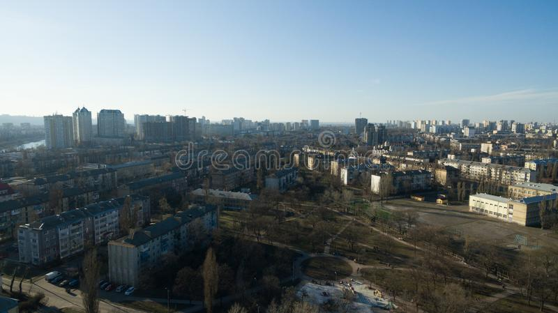 Beautiful bird`s-eye photo taken on drone. Beautiful bird`s-eye photo. Made on drone. Terrain from a height royalty free stock images