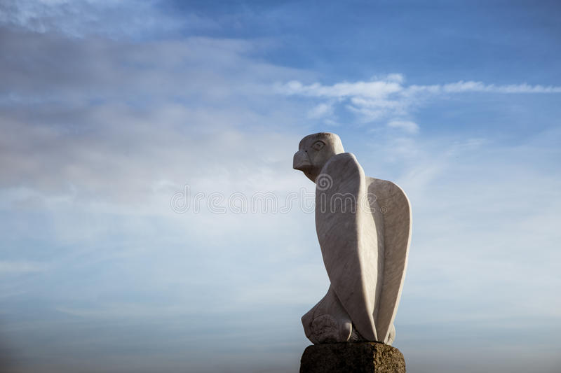 A beautiful bird statues on the Morecambe coast stock image