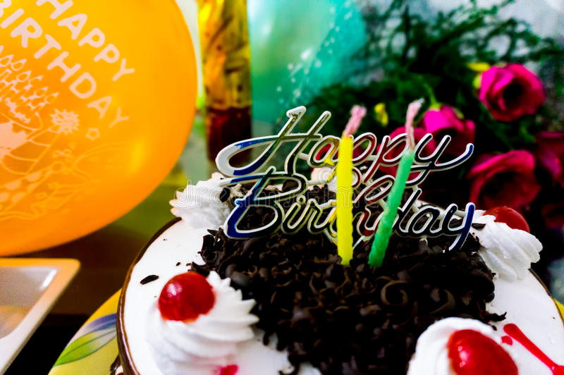 Beautiful Birthday Cake With Flowers And Baloons Stock Image Image