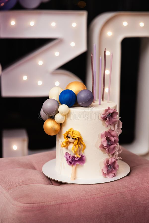 Beautiful birthday cake at a party - 30th Anniversary stock photos