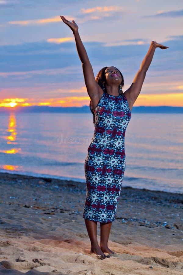 Beautiful Black African American Woman Posing On The Beach -8918