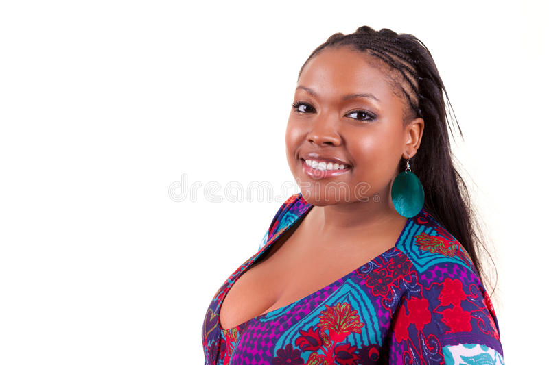 Beautiful black African American woman smiling - African people. Beautiful black African American woman smiling, isolated on white background - African people royalty free stock image
