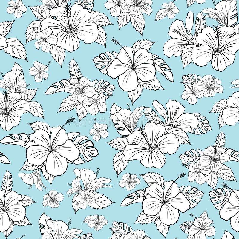 Free Beautiful Black And White Hibiscus Tropical Flower Pattern Vector. Turquose Background. Illustration Stock Photo - 138935120