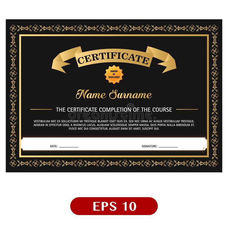 Beautiful black and gold certificate template design vector illustration
