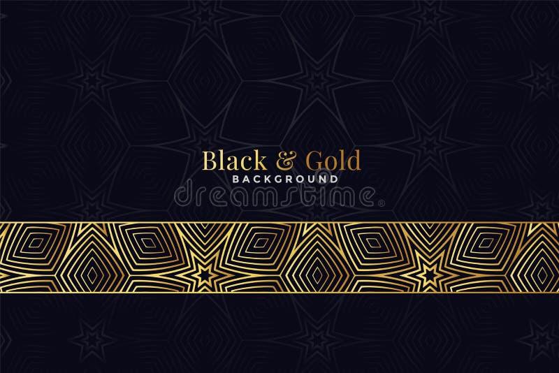 Beautiful black and golden pattern background design vector illustration