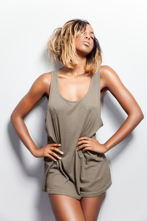Beautiful black model posing in tanktop stock photos