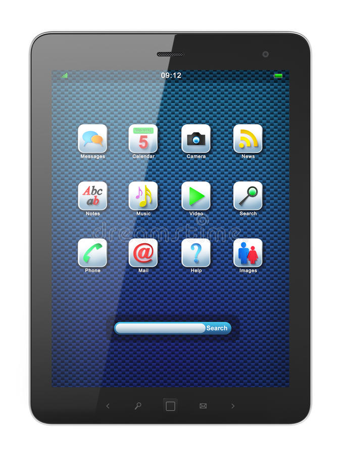 Download Beautiful Black Tablet Pc On White Background Stock Illustration - Image: 24374077