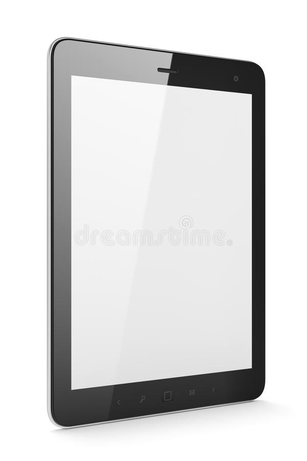 Beautiful black tablet pc on white background stock illustration