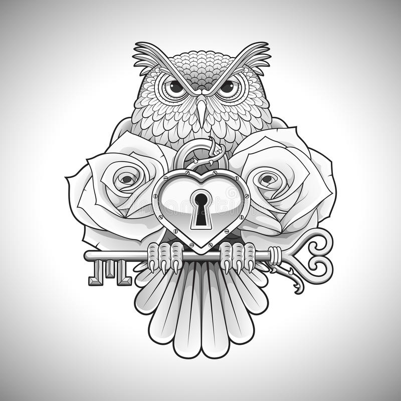 Free Beautiful Black Tattoo Design Of An Owl Holding A Key With A Heart Locket And Roses Royalty Free Stock Photography - 69518787