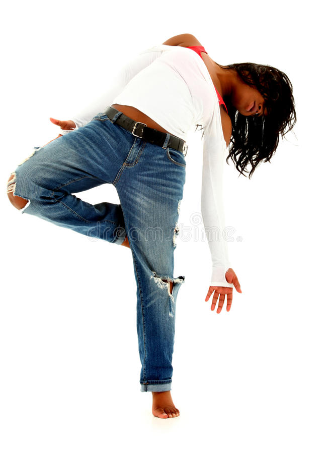 Download Beautiful Black Urban Dancer Woman Over White Stock Image - Image of style, trendy: 23614071