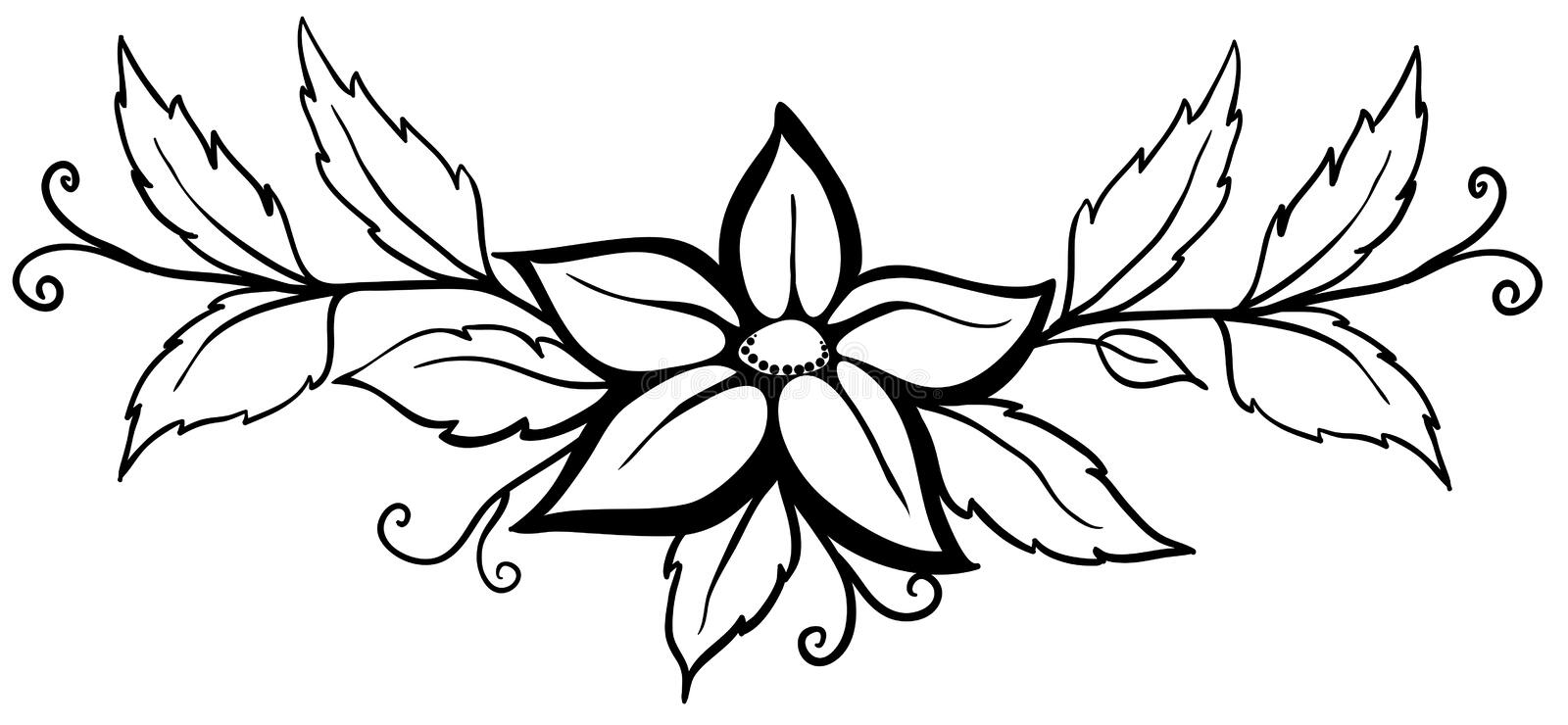 Black and white abstract flower. With leaves and flourishes. Isolated on white. Beautiful black and white abstract flower. With leaves and flourishes. Isolated vector illustration